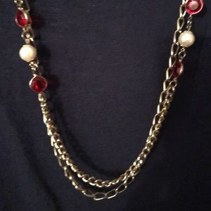 Vintage Double Strand Chain Gem Necklace EUC